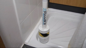image of a prototype floodkit shower tube flood prevention product for showers